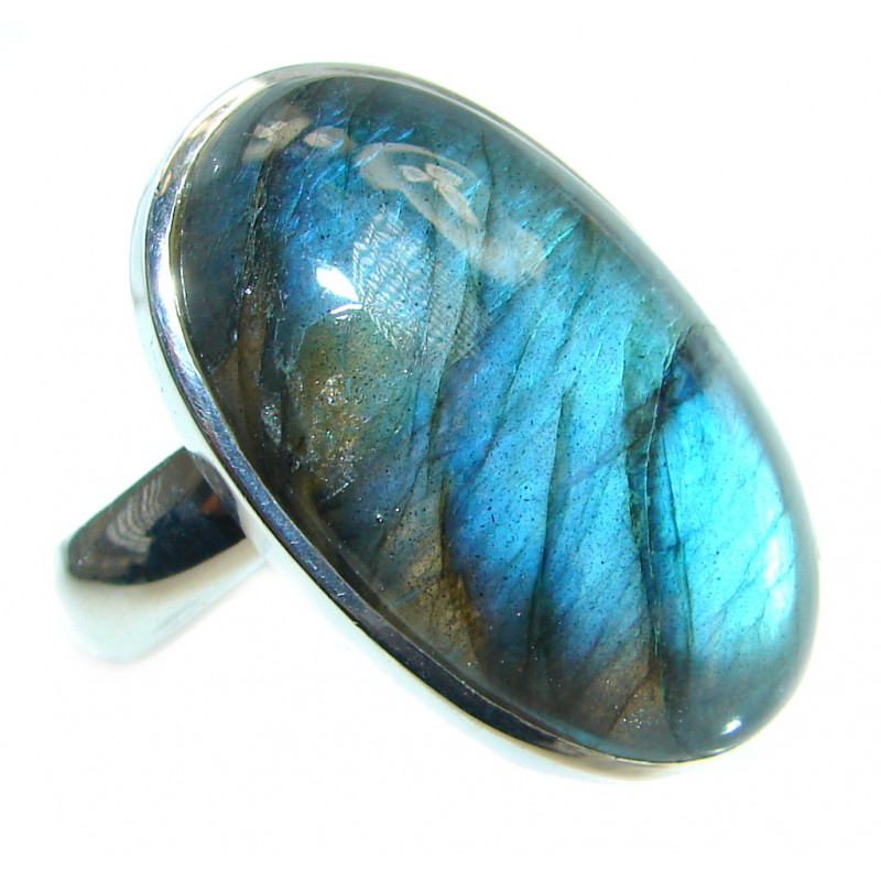 Blue Fire Labradorite Gold plated over Sterling Silver handmade ring size 7 adjustable
