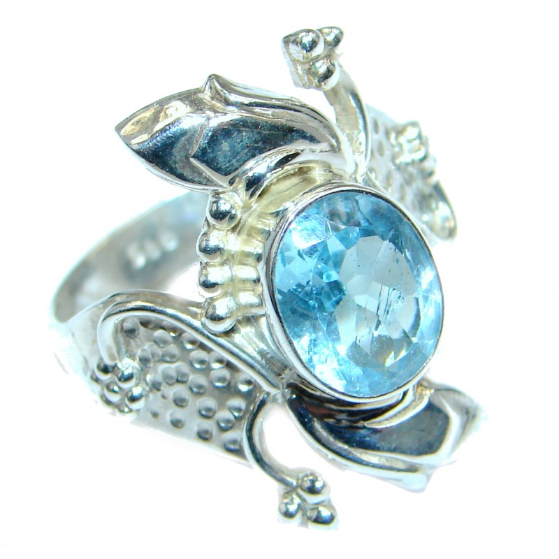 Caribbean Sea Blue Topaz Sterling Silver Ring s. 8 1/4