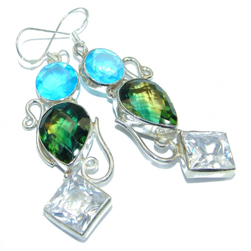 Rainbow Magic Cubic Zirconia Sterling Silver handmade earrings