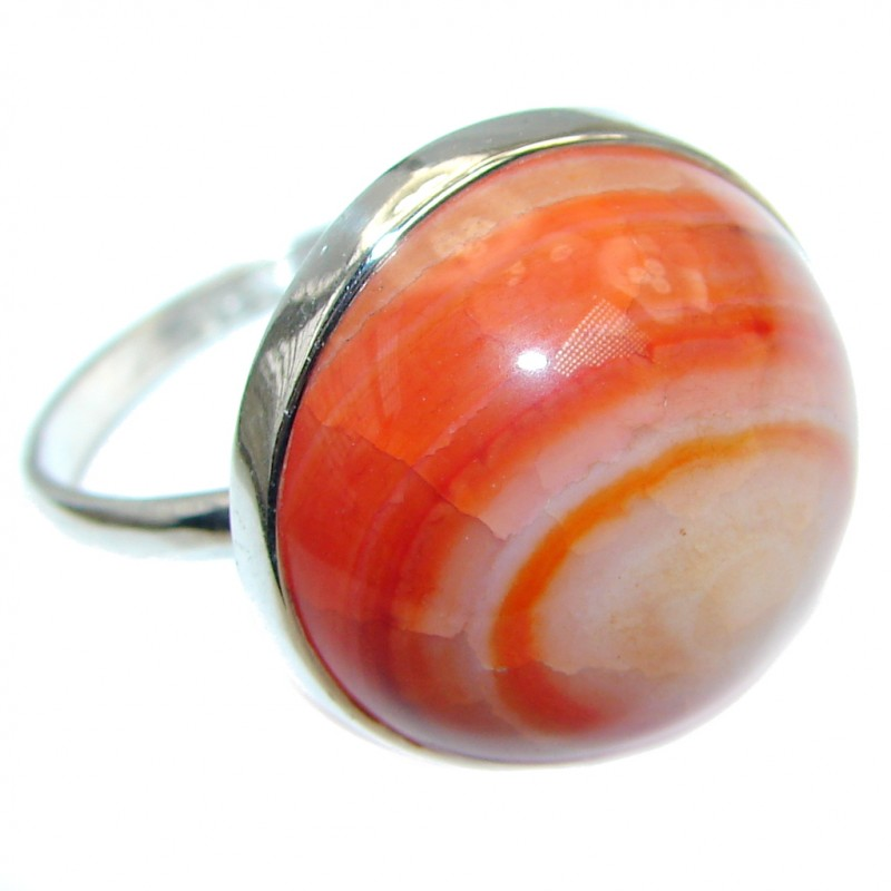 Mexican Agate Sterling Silver handmade Ring size 11