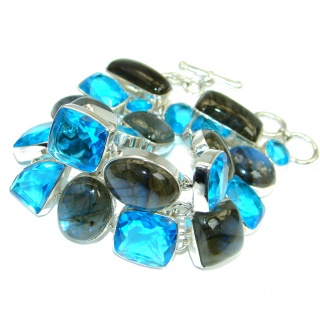 Beautiful Shimmering Labradorite and Blue Quartz Sterling Silver handmade Bracelet