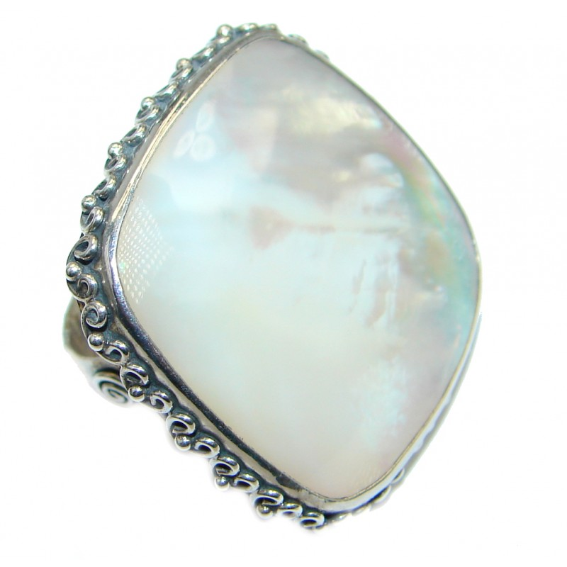 Luxury Big Blister Pearl Sterling Silver handmade Ring s. 6
