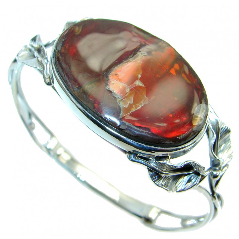 Beautiful New Design Red Ammolite Sterling Silver handmade Bracelet / Cuff