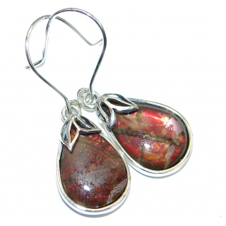 Red Aura AAA+ Fire Ammolite hammered Sterling Silver handmade earrings