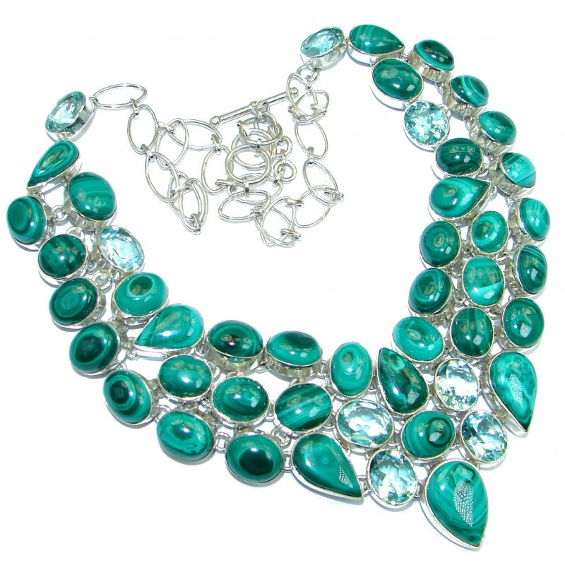 Huge Aura Of Beauty Green Malachite lab. Aquamarie Sterling Silver handcrafted necklace