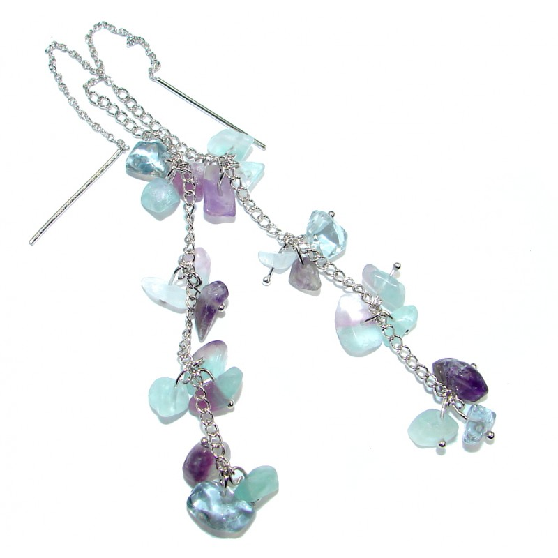 Perfect Natural Fluorite Amethyst Sterling Silver handmade earrings