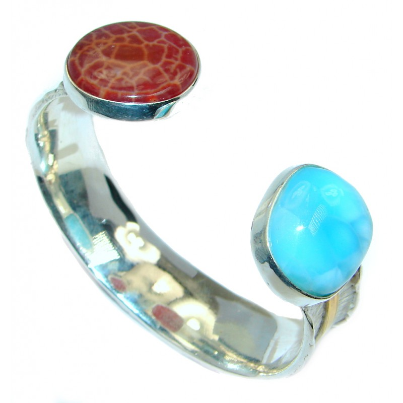 Two Friends Larimar Mexican Opal Two Tones Sterling Silver handmade Bracelet / Cuff