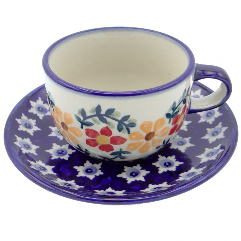 SilverrushStyle - Polish Pottery Teacup & Saucer - Sunflowers Collection