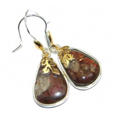 Red Aura AAA+ Fire Ammolite two tones Sterling Silver handmade earrings