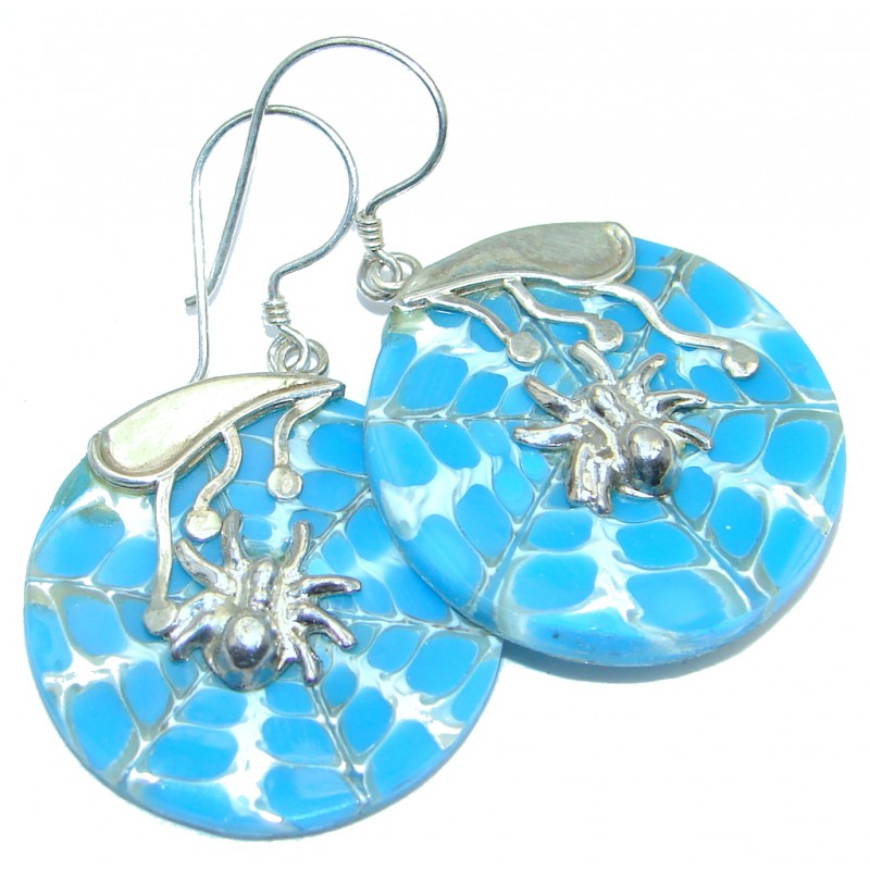 Simple Spiders Blue Shell Sterling Silver handmade earrings