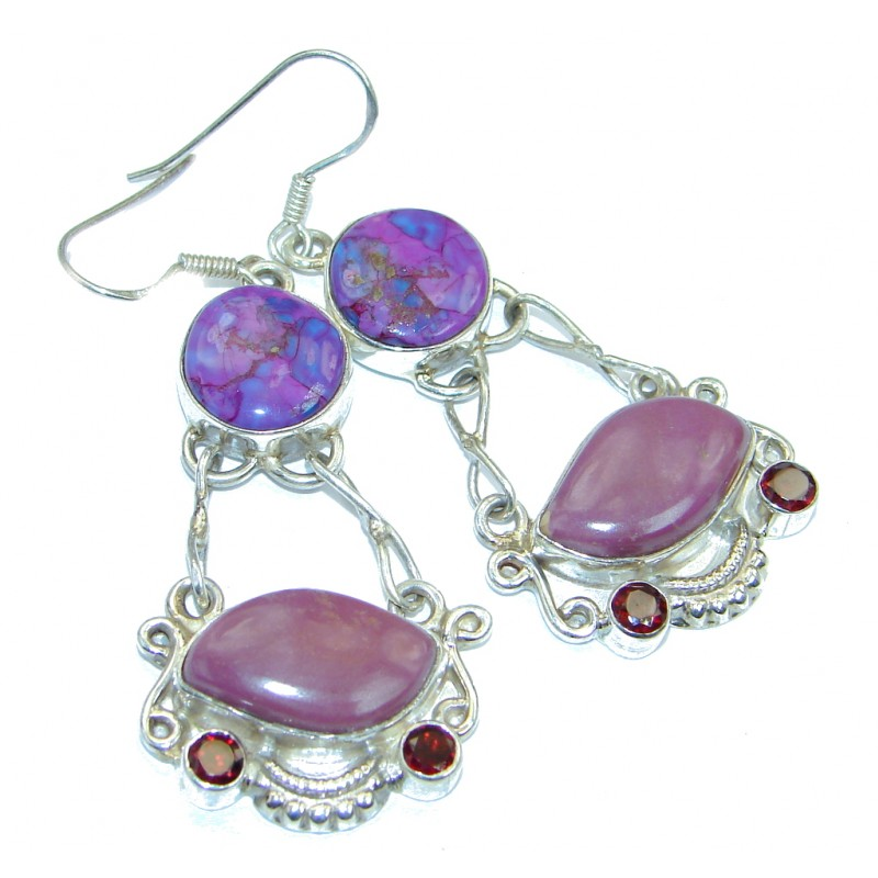 Perfect Natural Sugalite Amethyst Sterling Silver handmade earrings