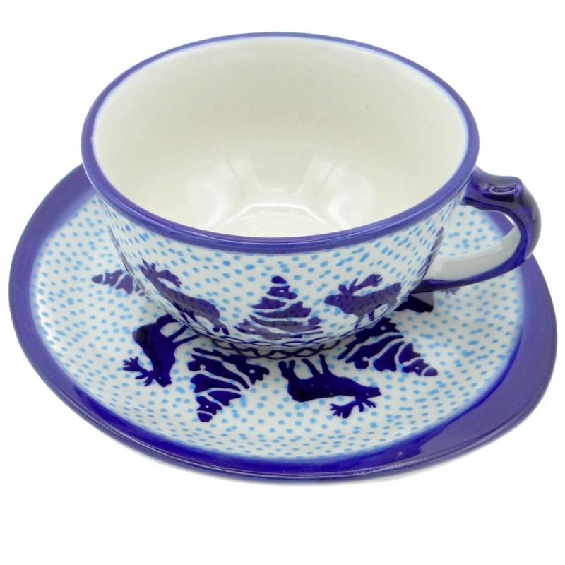 SilverrushStyle - Polish Pottery Teacup & Saucer - Winter Spirit Collection