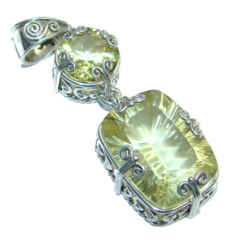 Oriental Design Yellow Topaz Sterling Silver handcrafted pendant