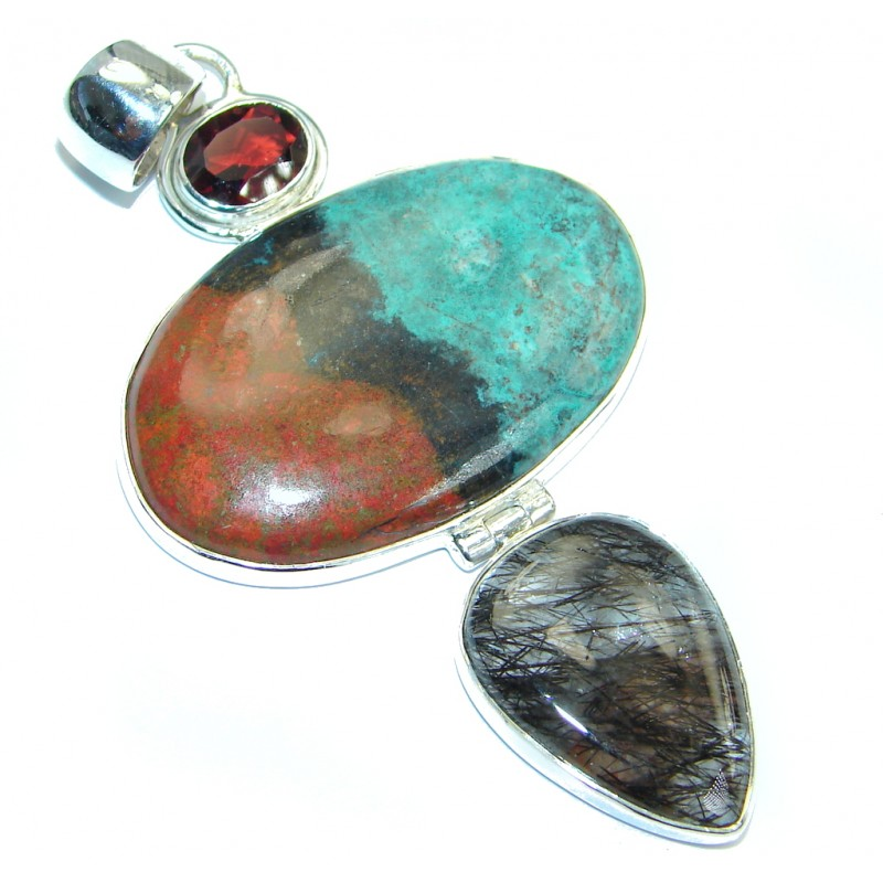 Large Unique Natural Sunrise Sonora Jasper Garnet Sterling Silver handmade Pendant