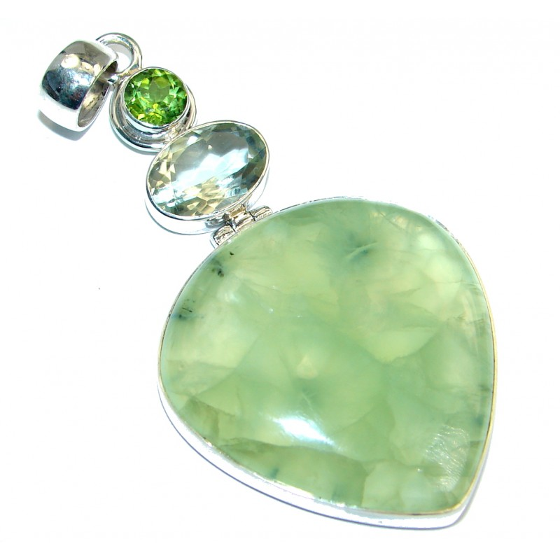 Jumbo Genuine Top quality Green Moss Prehnite Sterling Silver handmade Pendant