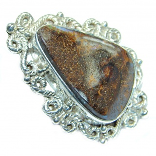 Huge Genuine Boulder Opal Sterling Silver handmade ring size 9
