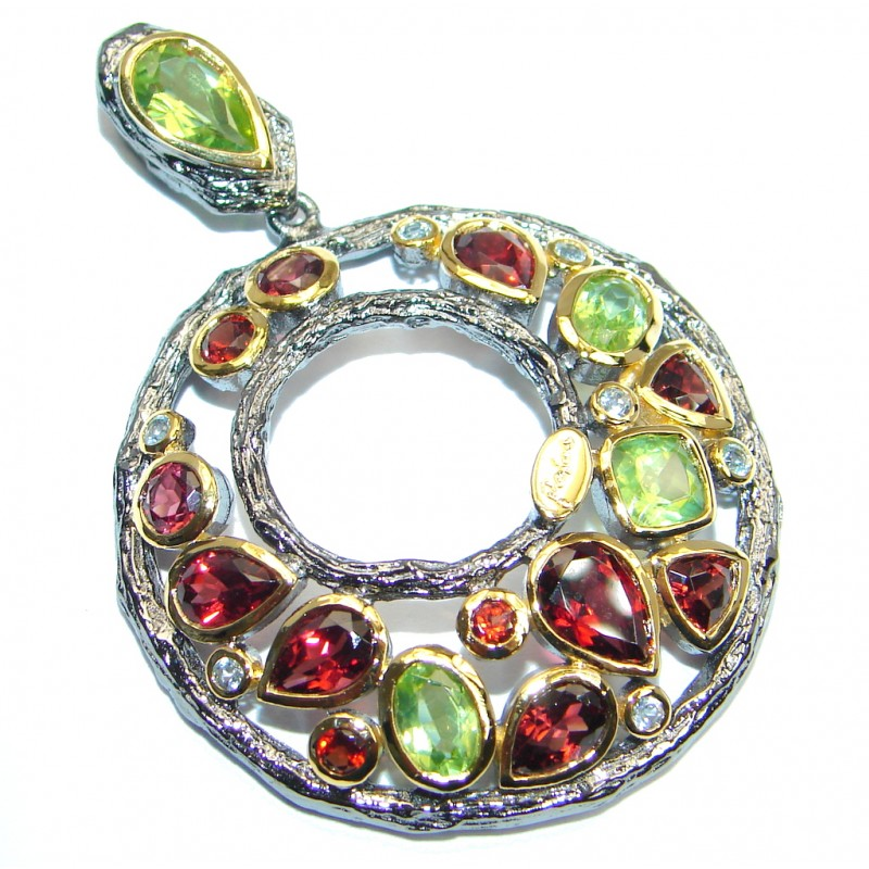 Unusual Design Peridot Garnet Gold plated over Sterling Silver Pendant