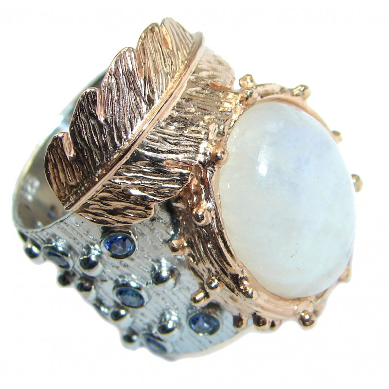 Fine Art Fire Moonstone Sapphire Gold plated over Sterling Silver handmade ring size 8