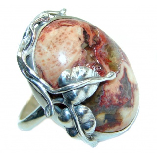 Authentic Mexican Fire Opal Oxidized Sterling Silver handmade Ring size 8 adjustable