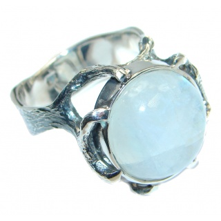 Fire Moonstone Oxidized Sterling Silver handmade ring size 9