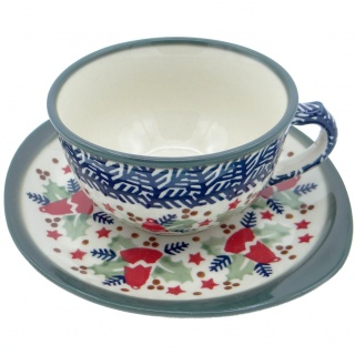 SilverrushStyle - Polish Pottery Teacup & Saucer - Holiday Collection