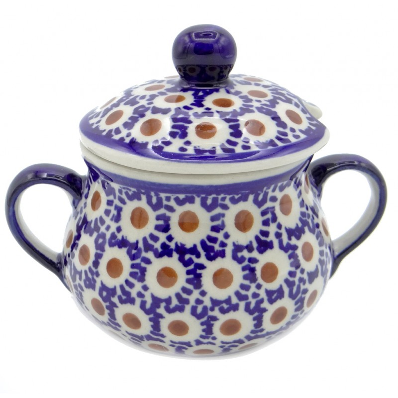 SilverrushStyle - Polish Pottery Sugar Bowl - Peacock Tail Collection