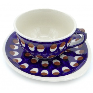 SilverrushStyle - Polish Pottery Teacup & Saucer - Peacock Tail Collection