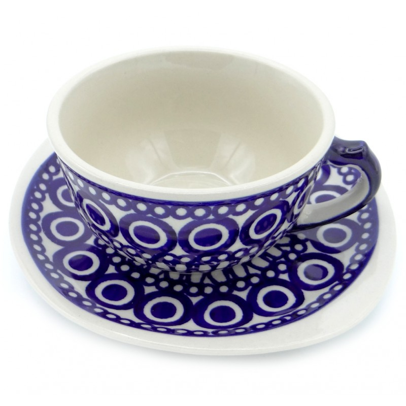 SilverrushStyle - Polish Pottery Teacup & Saucer - Greek Fiesta Collection