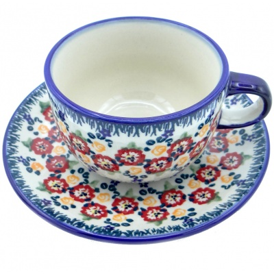 SilverrushStyle - Polish Pottery Teacup & Saucer - Summer Bouquet Collection