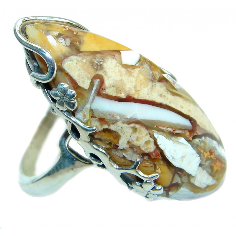 Sublime Australian Brecciated Mookaite Sterling Silver Ring size 7 adjustable