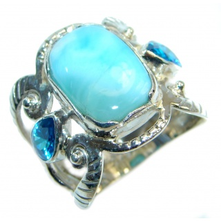 Larimar Oxidized Sterling Silver handmade Ring size 8