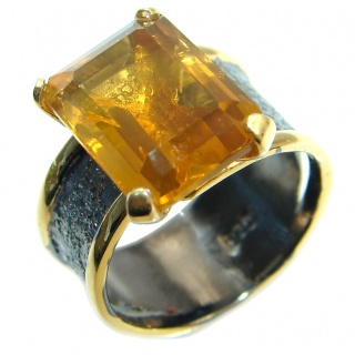 Energizing Yellow Citrine Gold plated over Sterling Silver Cocktail Ring size 7 adjustable