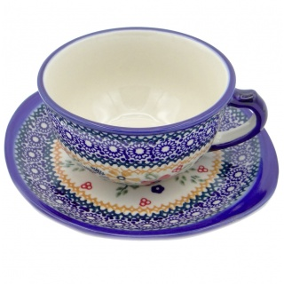 SilverrushStyle - Polish Pottery Teacup & Saucer - Wonderful Garden Collection