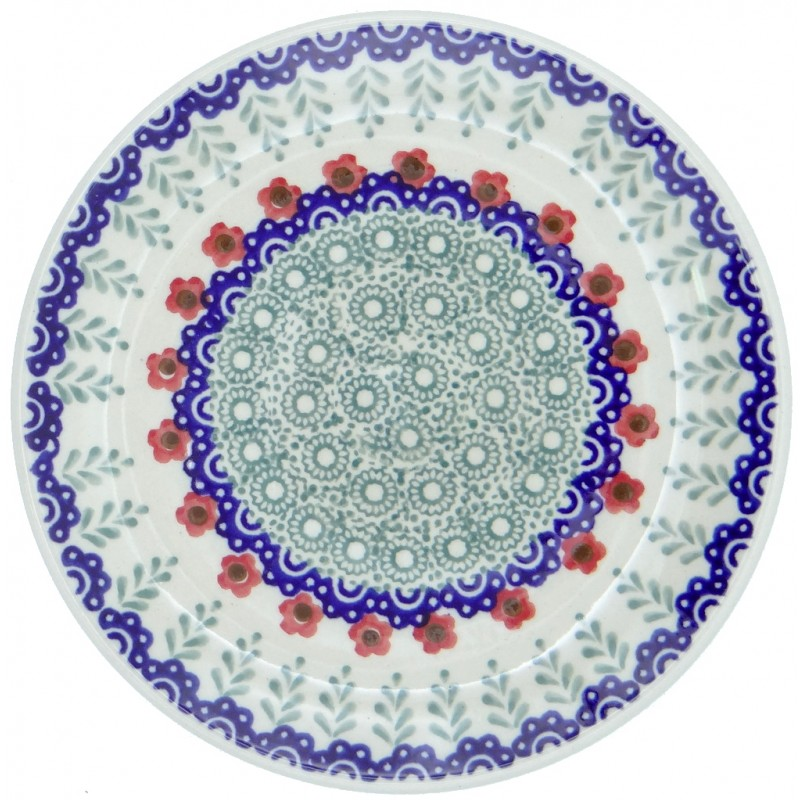 SilverrushStyle - Polish Pottery Dessert Plate - Red Flowers Collection