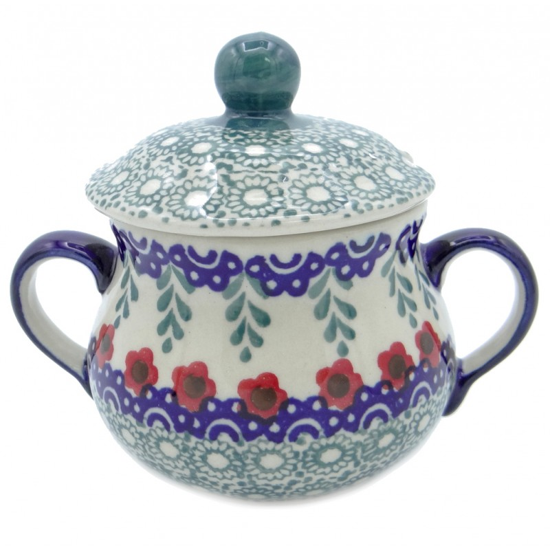SilverrushStyle - Polish Pottery Sugar Bowl- Red Flowers Collection