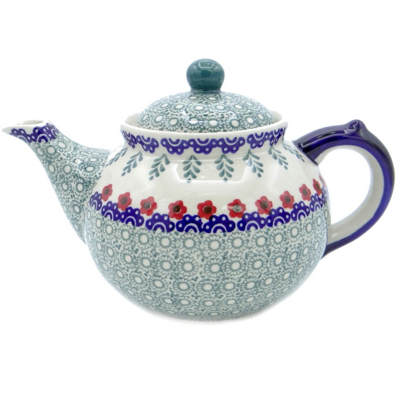SilverrushStyle - Polish Pottery Large Teapot - Red Flowers Collection