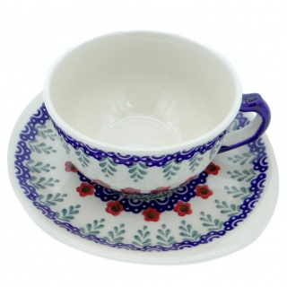 SilverrushStyle - Polish Pottery Teacup & Saucer - Red Flowers Collection
