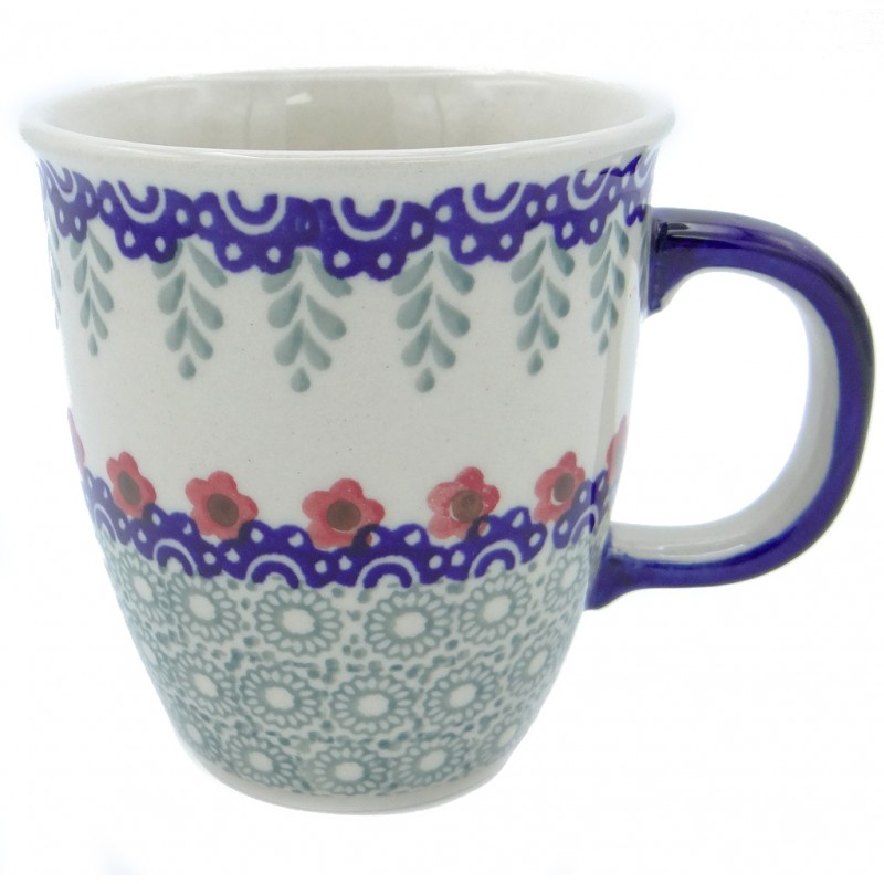 SilverrushStyle - Polish Pottery Coffee Mug - Red Flowers Collection
