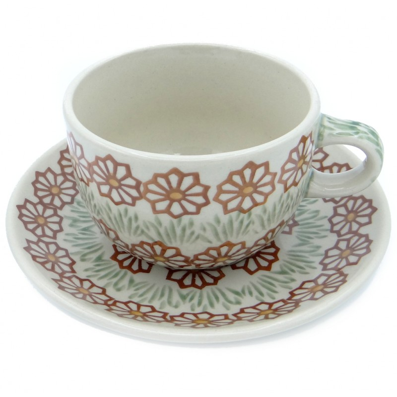 SilverrushStyle - Polish Pottery Teacup & Saucer - Autumn Garden Collection