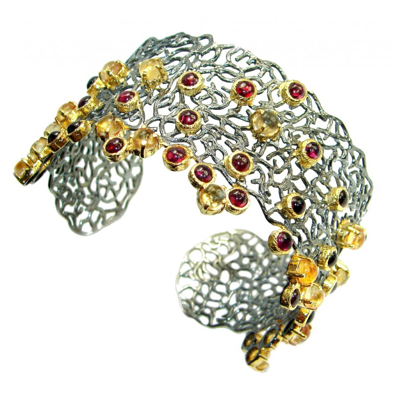 Chunky Genuine Garnet Citrine Gold Rhodium plated over Sterling Silver handmade Bracelet