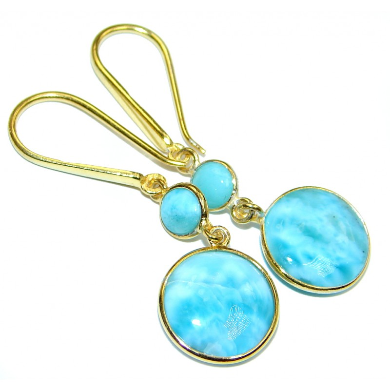 Sublime Blue Larimar Gold Plated Sterling Silver handmade earrings