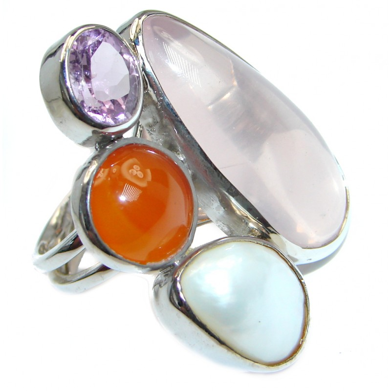 big fabulous pink quartz sterling silver ring s 7 1