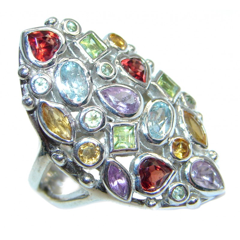 Beautiful Natural Multigem Sterling Silver Cocktail ring; size 6 1/4