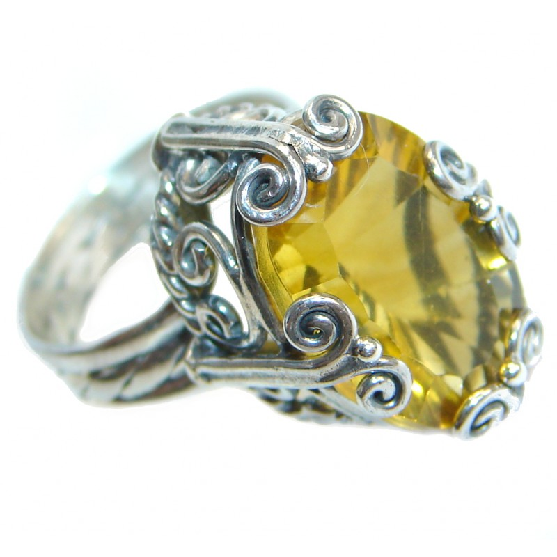 Energazing Citrine Sterling Silver Cocktail Ring size 5 3/4