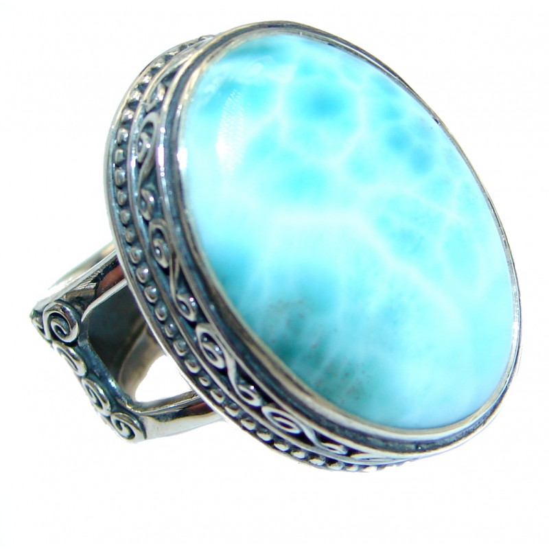 Genuine Larimar Oxidized Sterling Silver handmade Ring size 7 adjustable