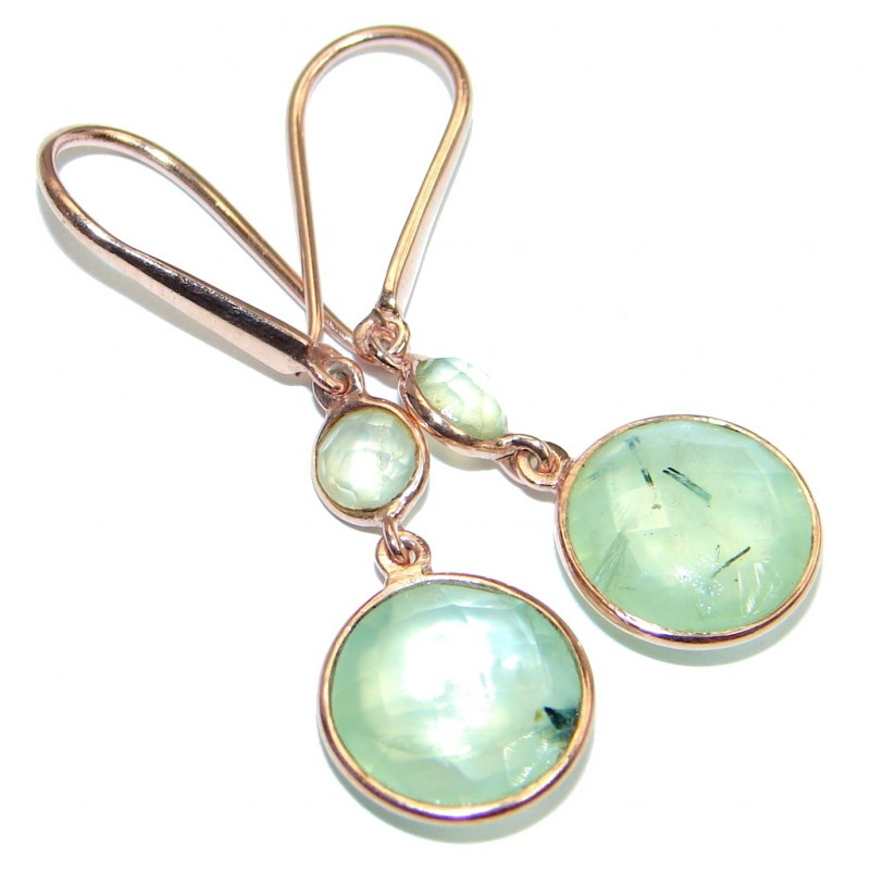 Authentic Moss Prehnite Gold plated over Sterling Silver handmade earrings