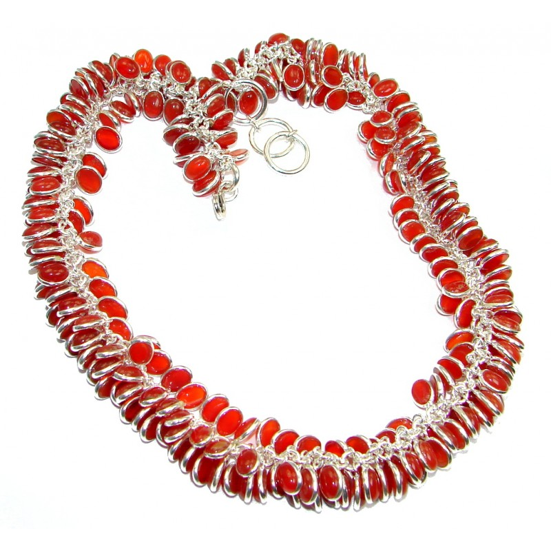 Natural Beauty Bold Carnelian Sterling Silver handmade Necklace