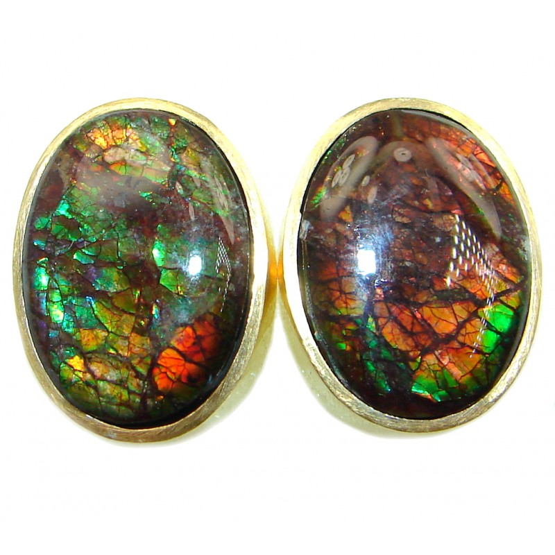 Red Aura AAA+ Fire Ammolite hammered Sterling Silver handmade stud earrings