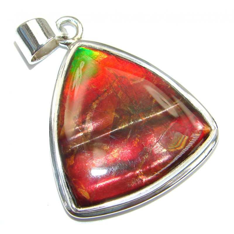 Authentic Beauty Canadian Ammolite Sterling Silver handmade Pendant