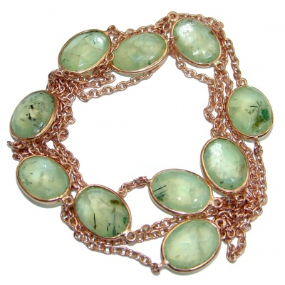 36 inches genuine Moss Prehnite Gold plated over Sterling Silver handmade Necklace